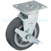 "27NM60JB0417TY - 6"" x 2"" Swivel Caster - Soft Rubber Wheel and Brake"