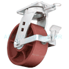 "57DS80LR2419FP - 8"" x 3"" Kingpinless Swivel Caster Ductile Steel Wheel - Brake - Position Lock"