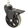 "MS30BI53HY - 3"" Swivel Caster Grip Ring Stem - Wheel Brake"