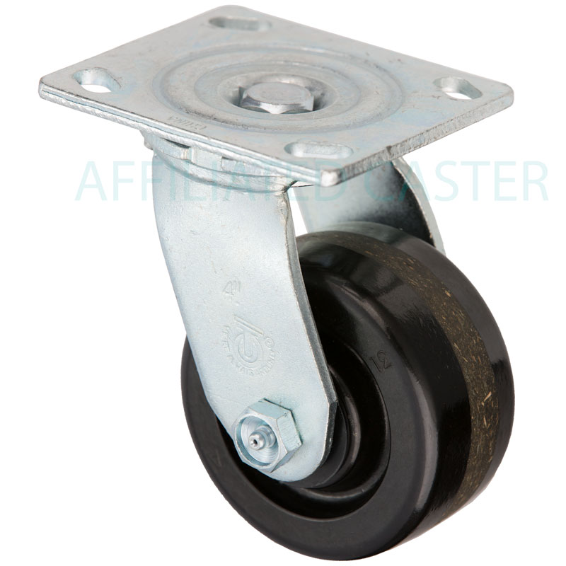 3-1//4/'/' x 2/'/' Swivel Caster Low Profile Polyurethane on Steel Brake 4