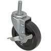 "09SR40DB8168VY - 4"" x 1"" Swivel Caster 1/2"" Threaded Stem with Brake"